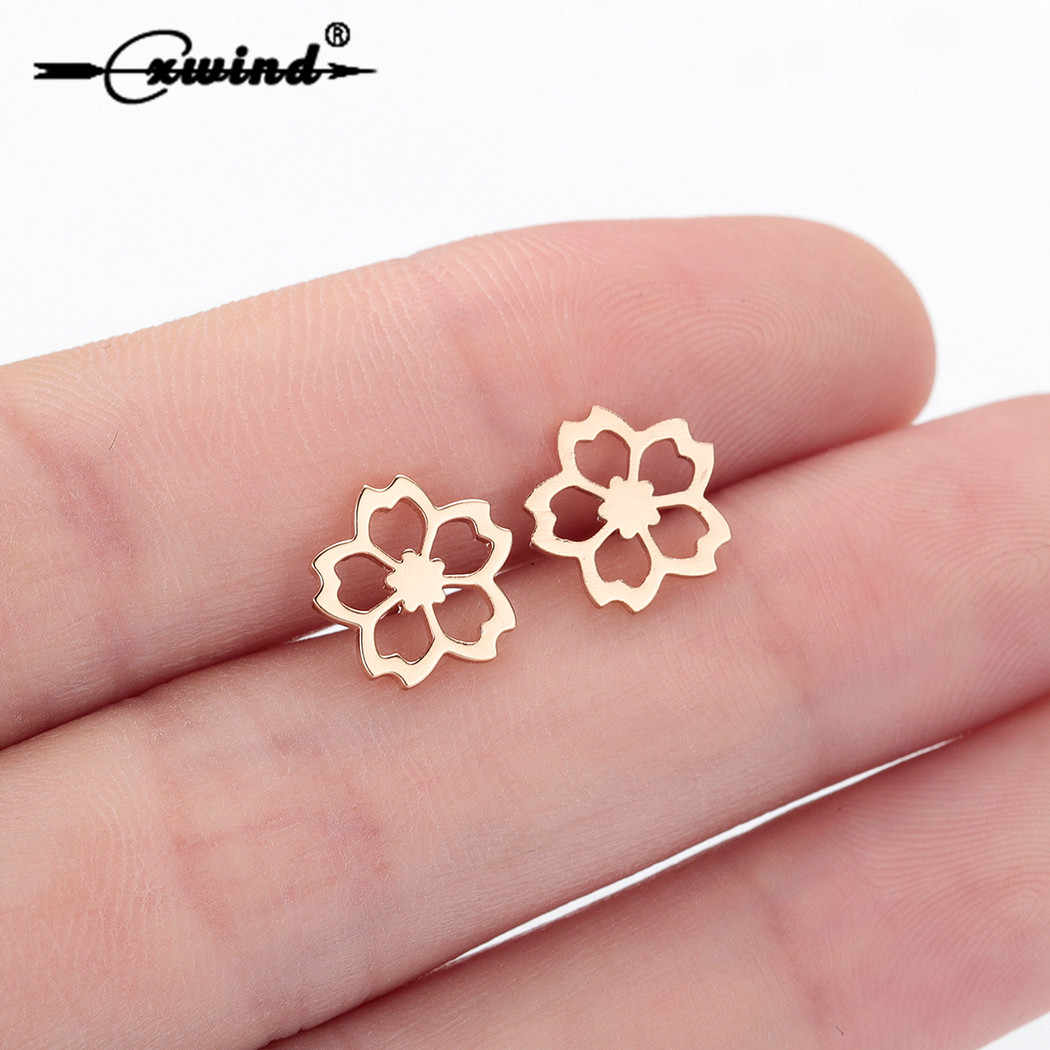 Cxwind Stainless Steel Flower Stud Earrings for Women Kids Statement Simple Chic Heart Stud Earrings boucle d'oreille femme