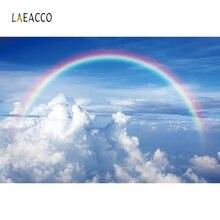 Laeacco Blue Sky White Cloud Rainbow Backdrop Children Portrait Photography Background Photographic For Photo Studio