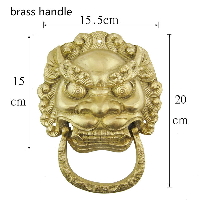 Big Size 15 5CM Antique Wooden Door Ring Handle Brass Lion Head Handle Knobs Knocker Pull