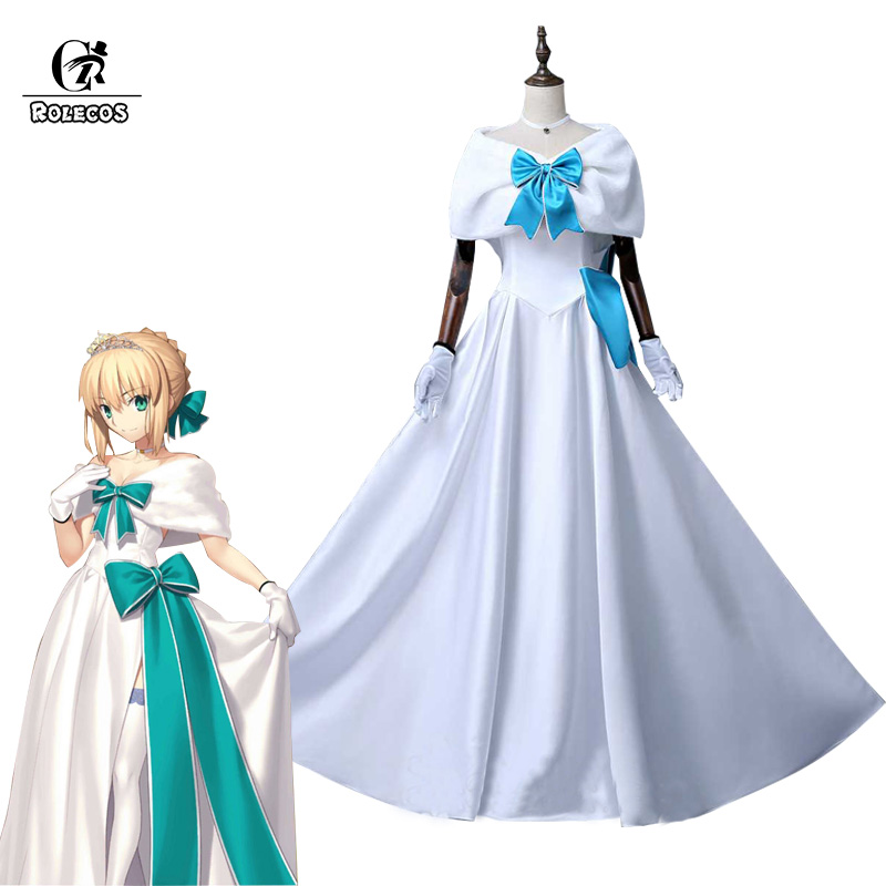 ROLECOS Fate Stay Night Saber Arturia Pendragon Cosplay Costume FGO Arturia Fate Grand Order Cosplay Women Wedding Dress Party rolecos japanese anime fate stay night altria pendragon cosplay costume fate zero saber arturia pendragon cosplay costume