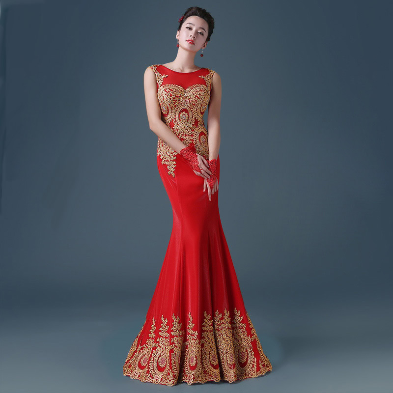 Luxury Red Mermaid Evening Dress Ball Gown Embroidery Chinese ...