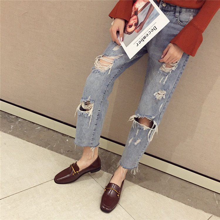 Fashion shoes for women 2018 new soft bottom British shoes woman square head single shoes female thick with flat shoes loafers 73