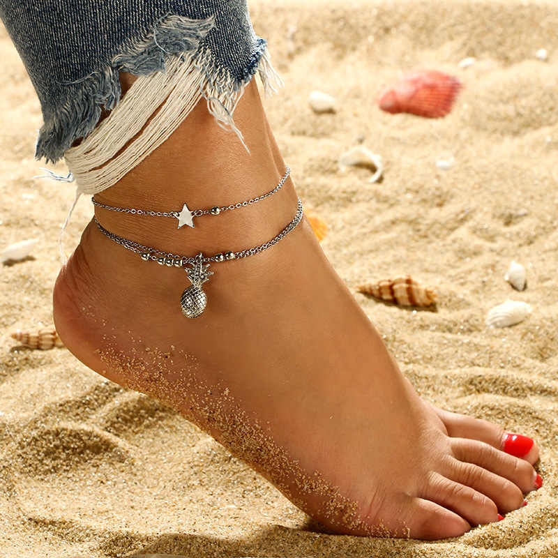 Ankle Chain Pineapple Pendant Anklet Beaded 2019 Summer Beach Foot Jewelry Fashion Style Ankle Bracelets For Women