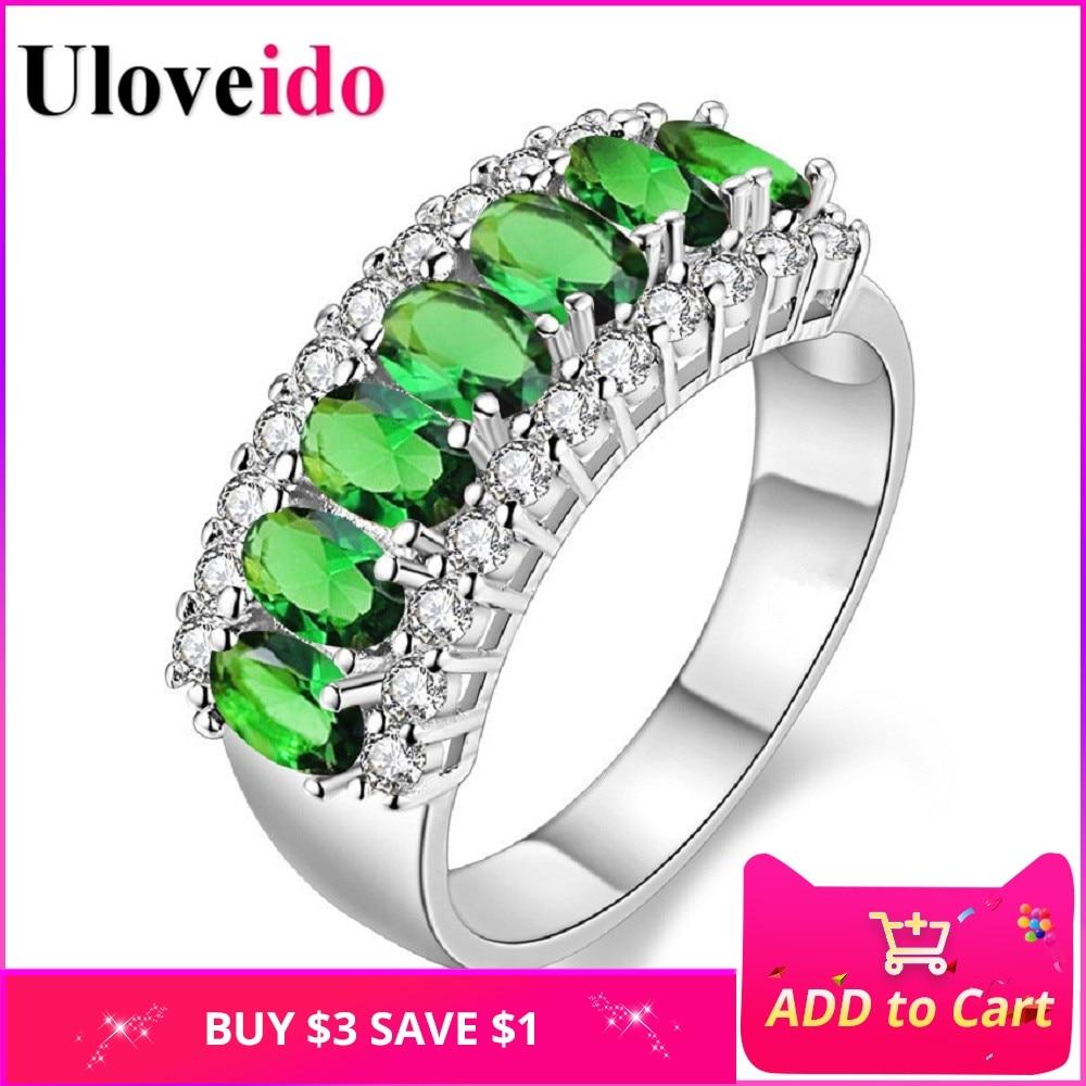 Uloveido Valentin-napi ajándék női ezüstözött piros esküvő nagy színes gyűrű piros zöld cirkóni szettek Ringen ékszerek 2017 J501