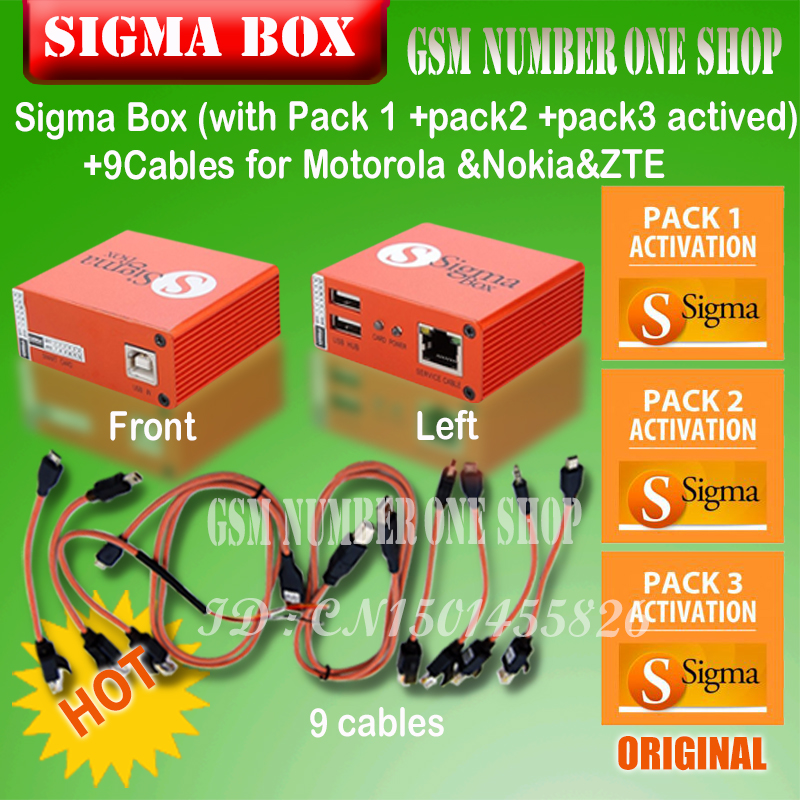 Gsmjustoncct 100% Original novo sigma box + Pack1 + Pack2 + Pack3 nova atualização para o huawei MTK-baseado Motorola, alcatel, ZTE