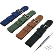 16 18 20 22 24mm Army Canvas Nylon Fabric Watchband Dark Blue Pin Buckle Replacement Belt Watch Band Strap Watch Accessories все цены