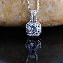 RONGQING Simple Elegant Square Zircon Pendant Necklace Cubic Zirconia Anniversary Jewlery Gift for Women