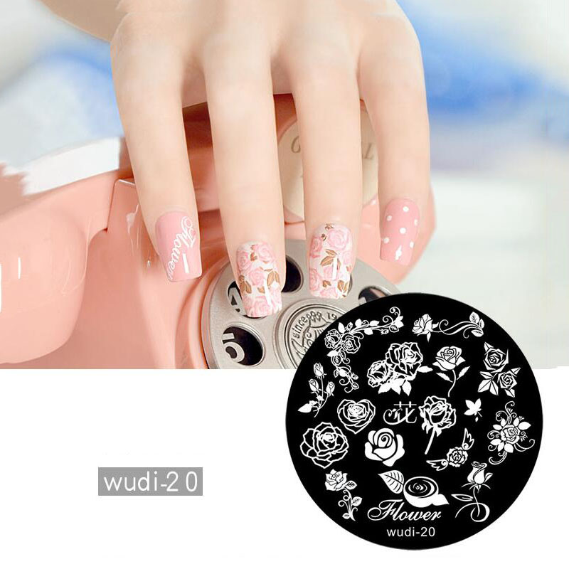 1pc Chinese ancient building Nail Stamp Plates Nail Hot Stamping Chinese Style Fashionable Plates Stamp Nail in Nail Art Templates from Beauty Health