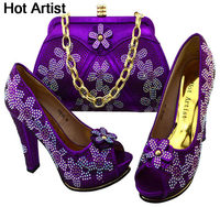 New Design Woman Pumps Shoe And Bag Set African High Heel Shoes And Bag Set For