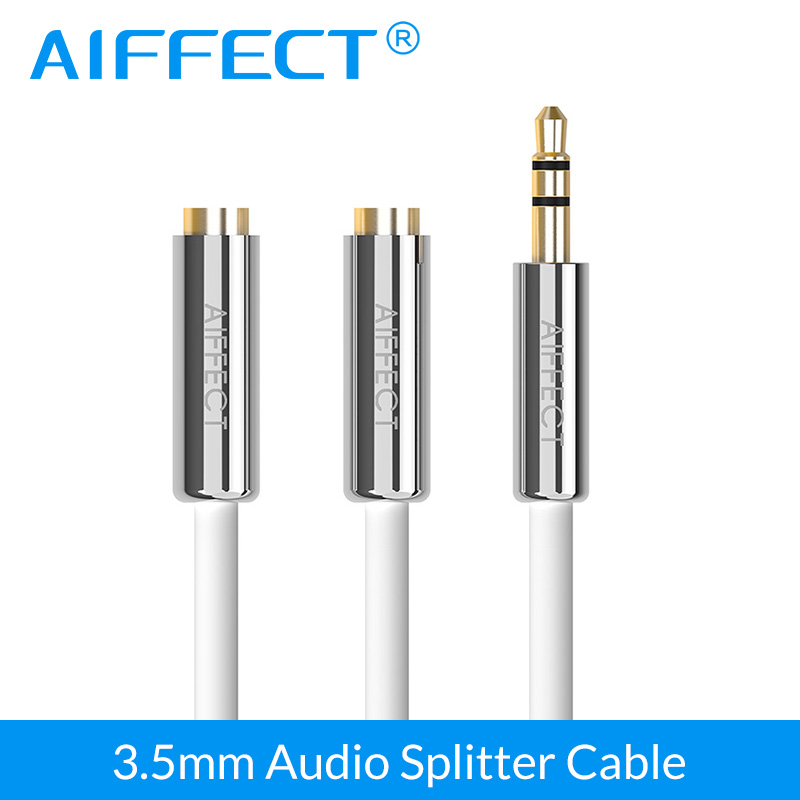 AIFFECT Audio Cable Jack 3.5mm Male to 2 Female Earphone Extension Cable 3.5mm AUX Headphone Splitter Adapter for iphone Laptop