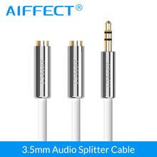 AIFFECT Audio Cable Jack 3.5mm Male to 2 Female Earphone Extension AUX Headphone Splitter Adapter for iphone Laptop