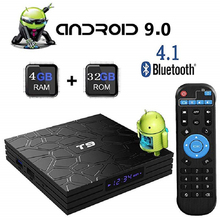Android 9.0 TV BOX Smart TV Box T9 RK3328 Quad Core 4GB RAM 32GB/64GB ROM H.265 4K 2.4G/5G Dual WIFI USB 3.0 TVbox Set top box