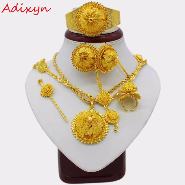 a08e42680 Adixyn 2018 New Traditional Festival Jewelry 24K Gold Color Party/Wedding  Ethiopian/African Women Fashion Jewelry Set