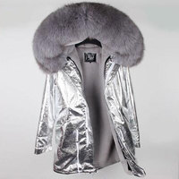 MaoMaoKong Natural Fox Large Fur Collar Park High quality faux fur lined with warm winter jackets DHL 3 5days