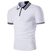 Foreign trade summer new men's Luokou two-color stitching personality lapel short-sleeved T-shirt casual  shirt male