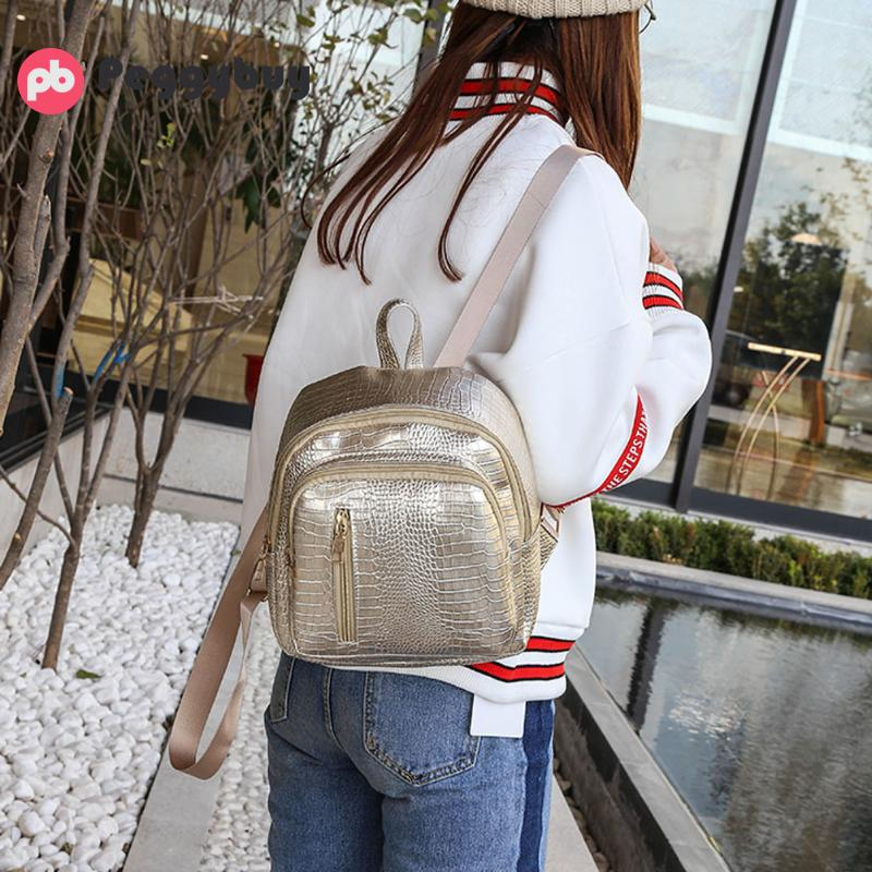Fashion Brand Backpack Bright PU Leather Schoolbag Leisure Mini Travel Bags for Women New Portable College Wind Shoulder Daypack