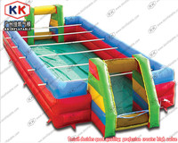 Custom inflatable human table soap football field with steel bars