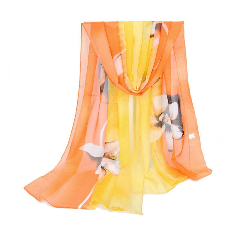 Floral Retro Ladies Soft Long Neck Large Scarf Wrap Shawl Chiffon Stole Scarves