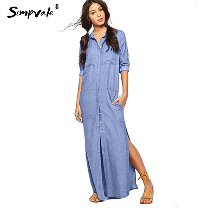 5fda4b30ae1 SIMPVALE Summer Women Retro Denim Loose Dress Casual Vintage Dress Blue  Solid Midi Shirt Dress Female Vestidos