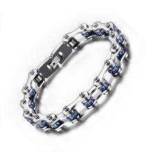Meaeguet Bike chain bracelets bangles with Blue Crystal  316L stainless steel chain bike bracelets men jewelry Christmas Gift
