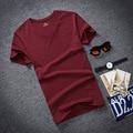 The 2016 Summer Cotton Short Sleeved T-shirt Male Korean Youth V Collar Shirt Mens Shirt Half Sleeve Slim