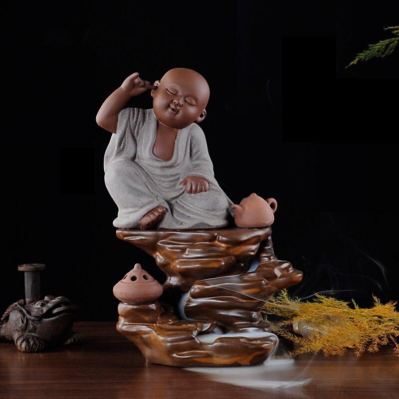 PINNY Jovem Monge Incenso Queimador de Cerâmica queimador de Incenso de Fumaça Refluxo Fontes Budistas Buda Queimador de Incenso Frete Grátis
