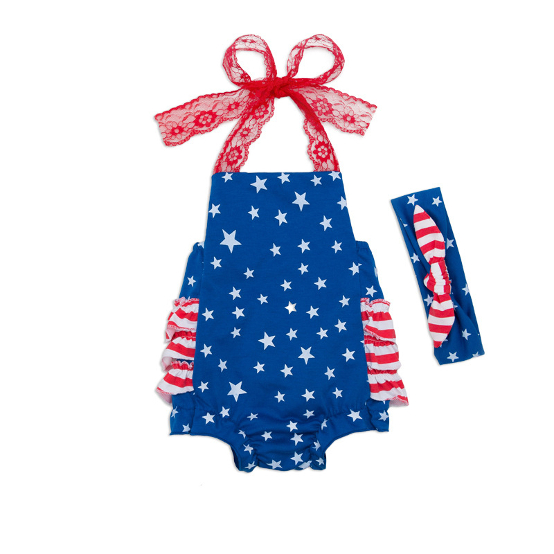 2017 Newborn Baby's Set Girls American Flag Jumpsuit Bodysuit Outfit Sunsuit Clothes Summer Baby Sleeveless Baby Girl Clothes 2017 floral baby romper newborn baby girl clothes ruffles sleeve bodysuit headband 2pcs outfit bebek giyim sunsuit 0 24m