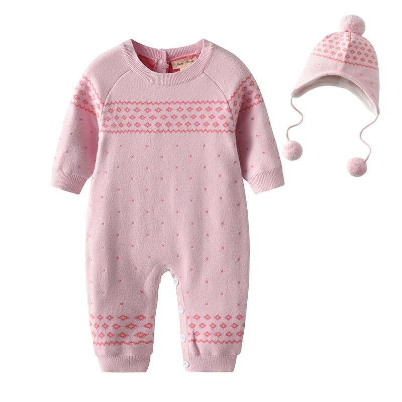 Új téli baba kötött Romper baba téli ruhák Pink Girl Jumpsuit Infant Playsuit Onesie