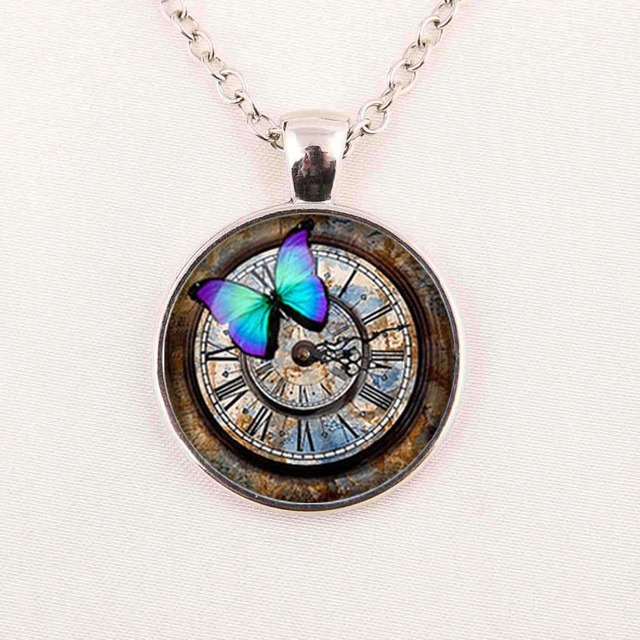 1pcs steampunk clock necklace steampunk watch pendant steampunk 1pcs steampunk clock necklace steampunk watch pendant steampunk clock retro necklaces glass cabochon necklace a1001 aloadofball Image collections