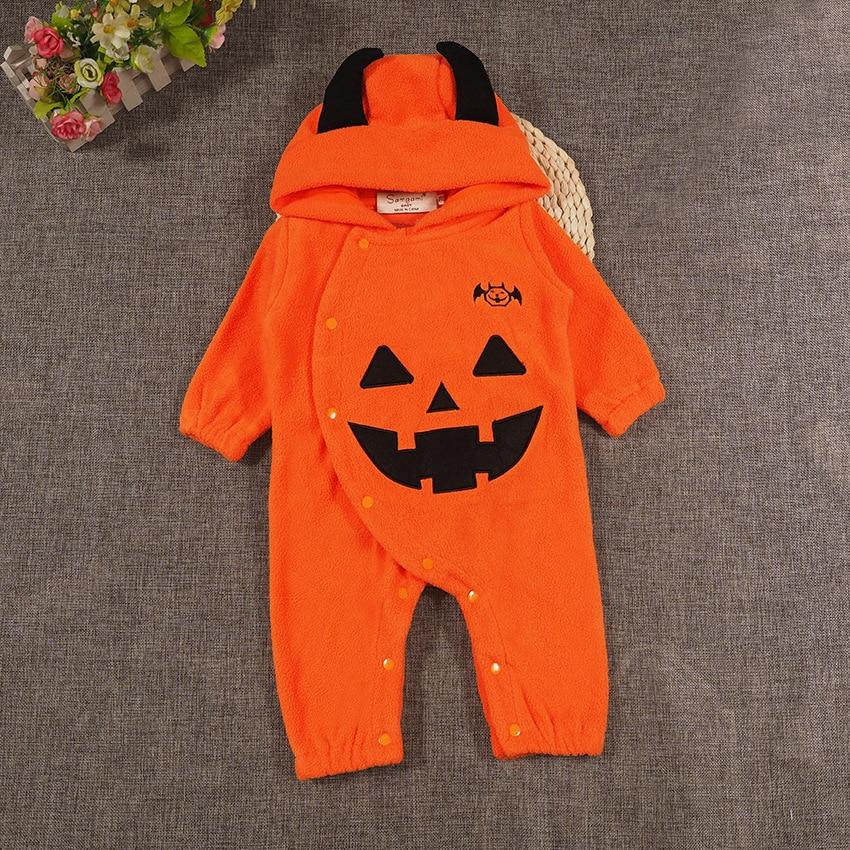 Новорожденных для маленьких девочек Мальчик Забавный комбинезон оранжевая тыква Хэллоуин малыш Спортивный костюм для малышей наряд с длин...