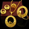 NEW Ethiopian Bridal Jewelry Sets 24K Gold Plated Necklace/Earring/Ring/Bangle/Pendant Jewelry African/Nigeria/Arab Items