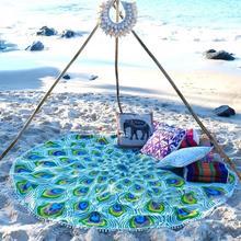 2017 Indio Mandala Tapiz Borla del Pavo Real Ronda Estera de Yoga Manta Toalla de Playa Bohemia Viajes Mano Servilleta Plage de Ronde