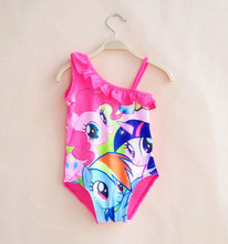 2016 My Little skirt swimsuit girls kids swim suit one Shoulder new models Pony with Briefs Bottom, Pink, Juniors Girl Size