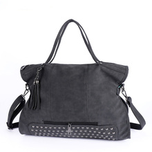 Edgy Rivets Trendy Fringes Tote Bag Ladies Casual Portable Bag Women Shoulder Bag Large Capacity Fashion