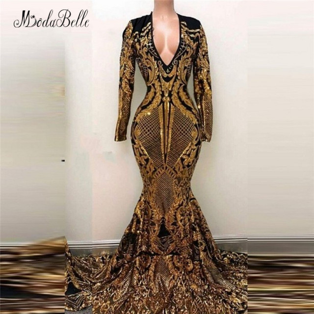 d1cd04ed modabelle Luxury Mermaid Long Sequin Evening Dress Gold Black Saudi Arabia  Vestidos Festa Longo Prom Dresses With Sleeves 2018