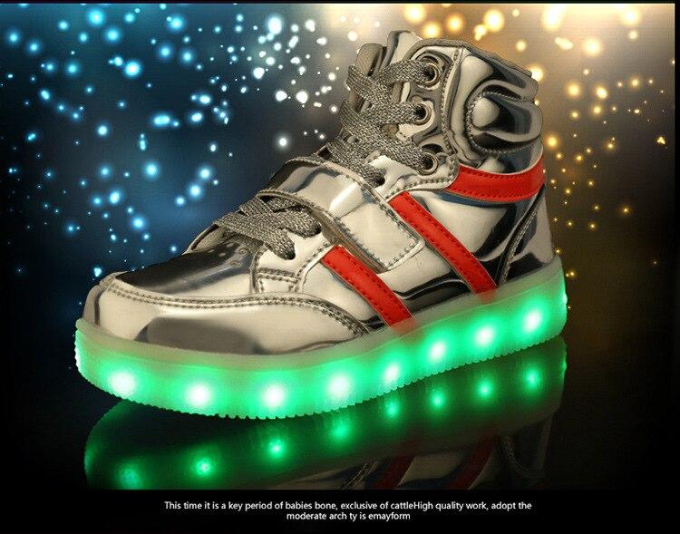 Led Licht Schoenen : Kinderen led licht schoenen hoge uitgesneden kinderen mode casual