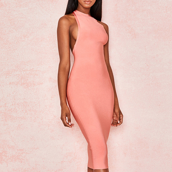 Ocstrade New Arrival 2019 Bandage Dress Pink Women Bodycon Summer Bandage Dress Midi Sexy Cut Out Back Party Night Club Dress ocstrade suede strapless bandage dress 2020 new arrival summer women sexy black bandage dress bodycon midi club party dresses