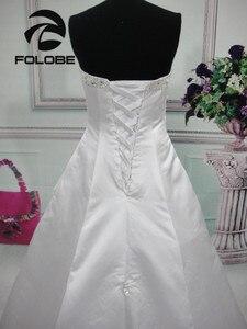 Image 4 - Elegante satén sin tirantes, abalorio De lentejuelas, Vestidos De Novia largos, sin espalda con pliegues, corte en A