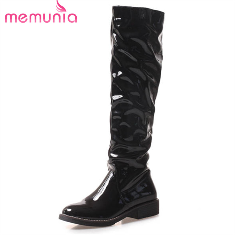 MEMUNIA 2018 hot sale thigh high over the knee boots women slip on autumn boots solid colors fashion long boots low heels shoes hot woman knee high boots fashion woolen 3 styles slip on solid wedge boots autumn and spring shoes women 1965