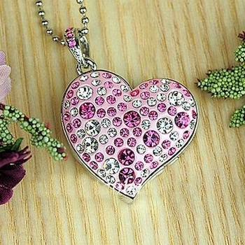 Jewelry Heart USB 2.0 Memory Stick Pen Storage Drive Pink Pendrive 16GB Pen Drive 64GB Gift Drives Memory Card Disk Computer