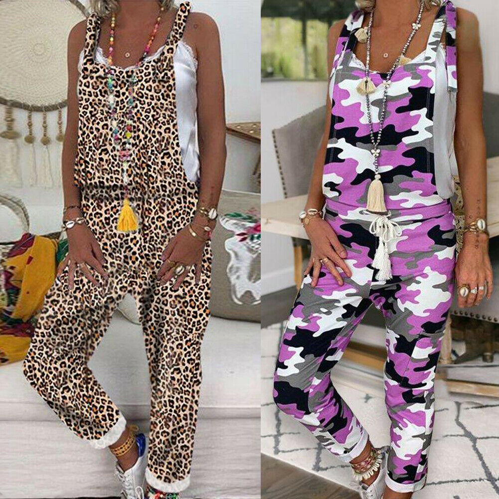 2019 New Jumpsuit Women Sleeveless Leopard&Camouflage Jumpsuit Dungarees Overall Casual Harem Strap Long Pant Trousers
