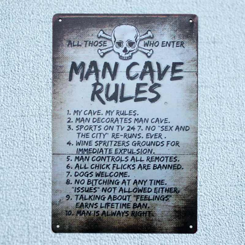 Man Cave Rules Tin Metal Signs Vintage Plates For Wall Bar Home Art Craft Decor Cuadros Iron Poster  30X20CM A-5462B