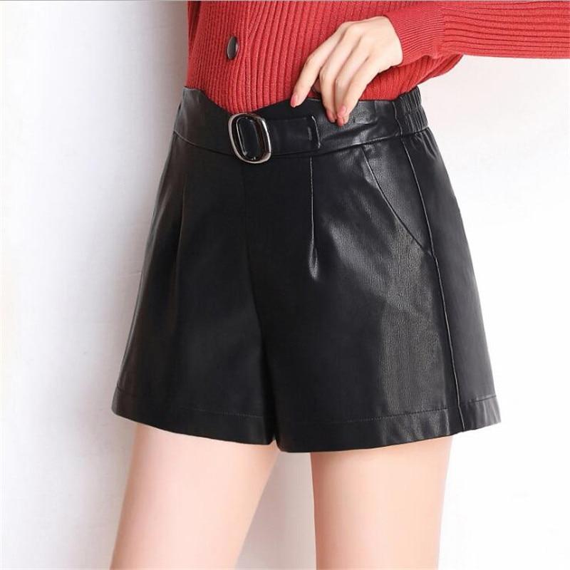 Alta Negro Vintage Elegante Coreano De Las Mujeres Cintura Con Shorts Pantalones Estilo 2019 Cortos Pu Cuero Cinturón CXdqUwU