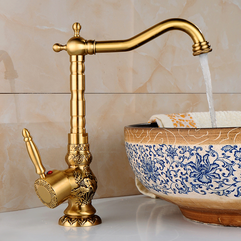 Basin Faucets Gold-plating High Arch Retro Carved Classic Single Handle Vanity Bathroom Sink Tap For Hot and Cold Water CA-9905K commercial sea inflatable blue water slide with pool and arch for kids