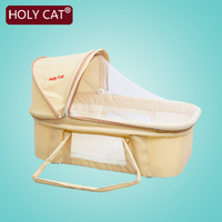 Holycat Baby bed Newborn Baby Bassinet Folding Portable Sleeping Basket Awning