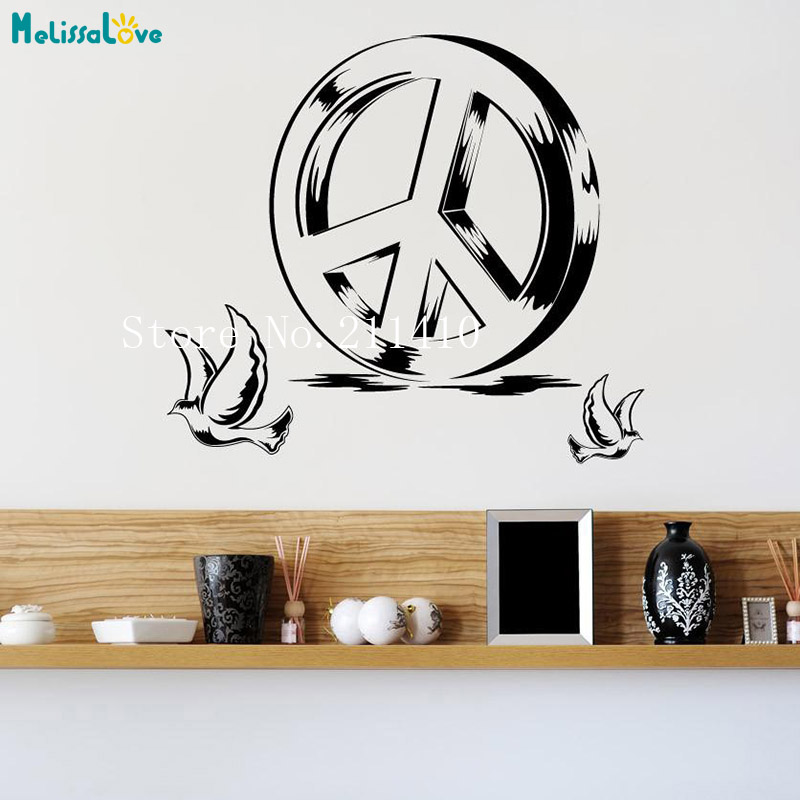 US $5.98 25% OFF|Art Wall Decals Peace Sign and Doves Vinilos Paredes Home  Decoration For Living Room Bedroom Self adhesive Vinyl Murals YT161-in Wall  ...