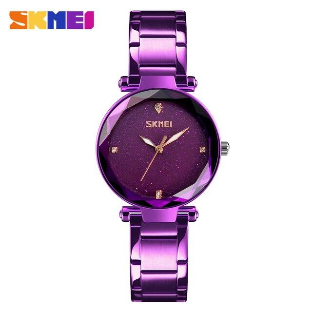 56cf0583a8cd SKMEI estrellada cuarzo mujeres relojes elegante Top marca de lujo Horas  reloj de moda señoras reloj
