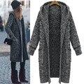 Скидка весна и осень и зима мода Новый стиль с длинным рукавом сплошной цвет вязать кардиган с капюшоном женщин свитер