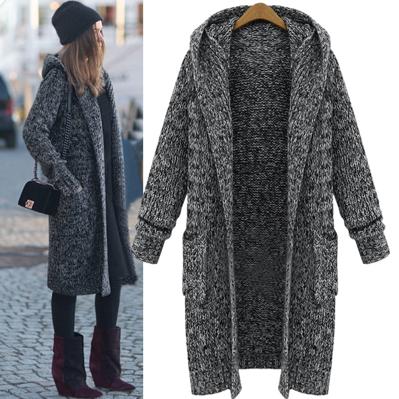 Discount spring and autumn and winter fashion new style long sleeve solid color knit hooded Cardigan