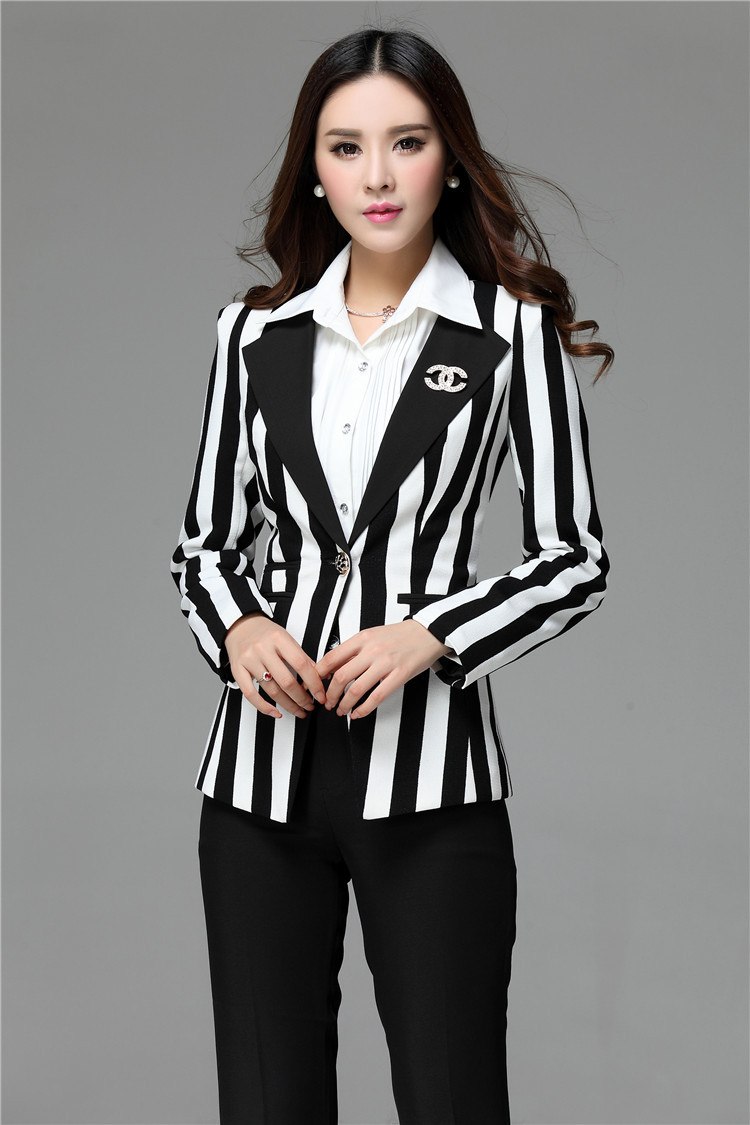 Spring winter formal women pant suits womens black and white striped blazer sets female professional office uniform pantsuits in pant suits from womens